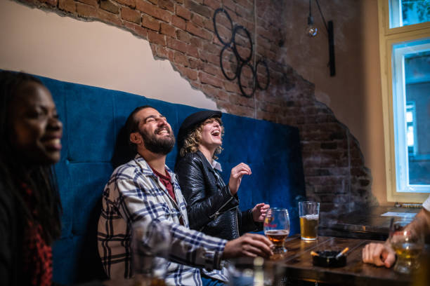 Happy Drunk Friends stock photo