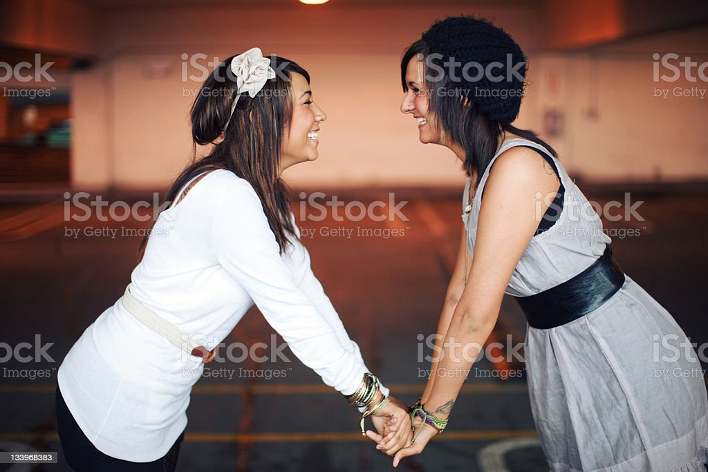 Happy Dual Urban Ethnic Friends royalty-free stock photo
