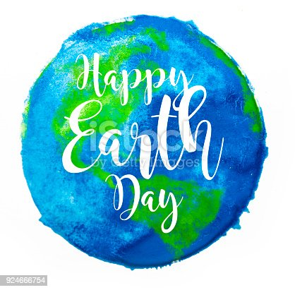 A stock photo of a water color circle design depicting Happy Earth Day