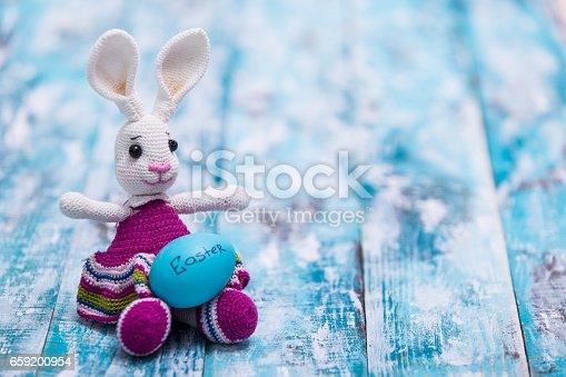 istock Happy Easter background, eggs, bunny 659200954