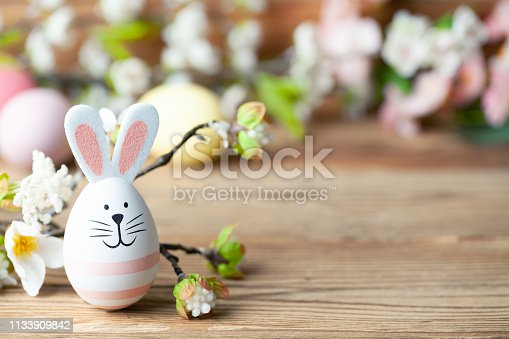 922658520 istock photo Happy easter background with easter bunny, easter eggs and flowers 1133909842