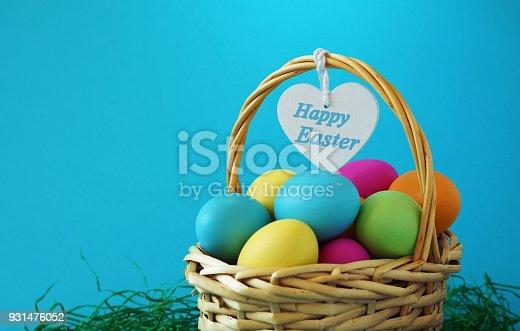 istock Happy Easter Basket Greetings Card 931476052