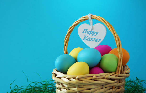 Happy Easter Basket Greetings Card stock photo