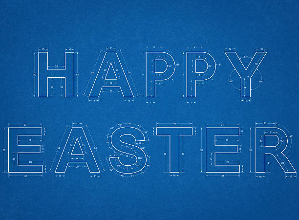 Royalty free blueprint font pictures images and stock photos istock happy easter blueprint stock photo malvernweather Image collections