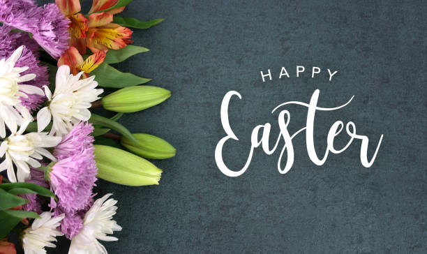 Happy Easter calligraphy over blackboard background with colorful flower blossom bouquet Spring season still life with Happy Easter calligraphy holiday script over dark blackboard background texture with beautiful colorful white, pink, orange, purple and green flower blossom bouquet on side, widescreen easter stock pictures, royalty-free photos & images