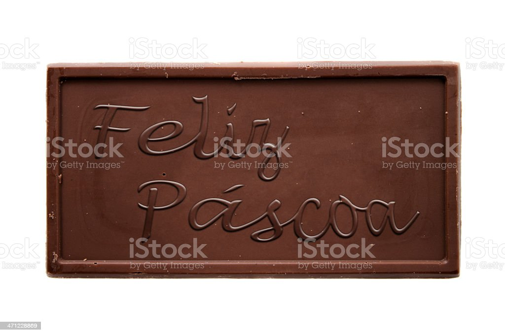 Happy Easter chocolate bar PT-BR stock photo