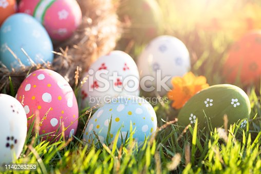 Happy easter! Closeup Colorful Easter eggs in nest on green grass field during sunset background.