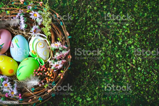 Happy easter congratulatory easter background easter eggs and flowers picture id1209827350?b=1&k=6&m=1209827350&s=612x612&h=t6ru gbpl5348inamye34zwu0uc3pakt0jnazoys1ii=