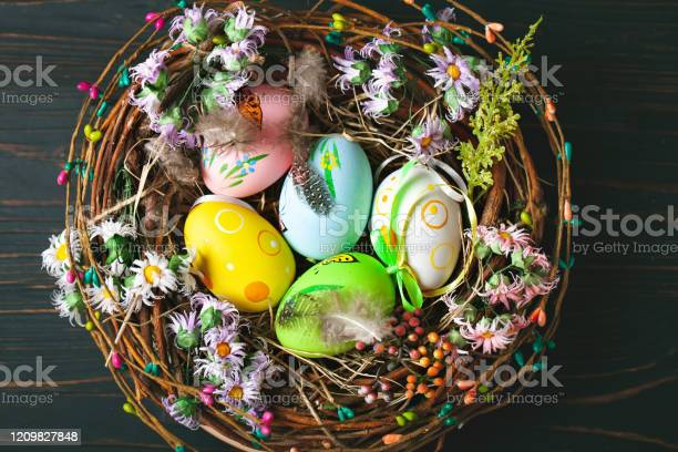 Happy easter congratulatory easter background easter eggs and flowers picture id1209827848?b=1&k=6&m=1209827848&s=612x612&h=yw2j3ajwzmqwce5oeskxnvqcece0 b7l qrnvgc8qkc=