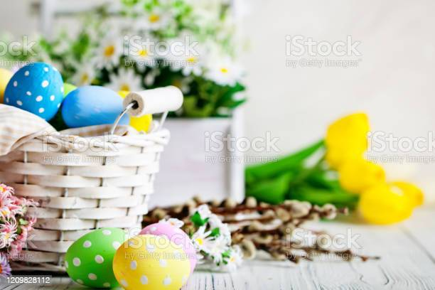 Happy easter congratulatory easter background easter eggs and flowers picture id1209828112?b=1&k=6&m=1209828112&s=612x612&h=0cdefs9gqtnat3vra3auwjhixqwtpjcxwjixh56alns=