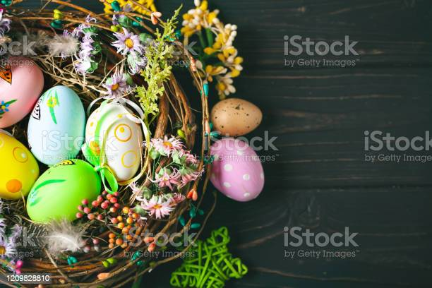 Happy easter congratulatory easter background easter eggs and flowers picture id1209828810?b=1&k=6&m=1209828810&s=612x612&h=x0if9pylae w9 osatfljqndabsec2cnczehldl21xy=
