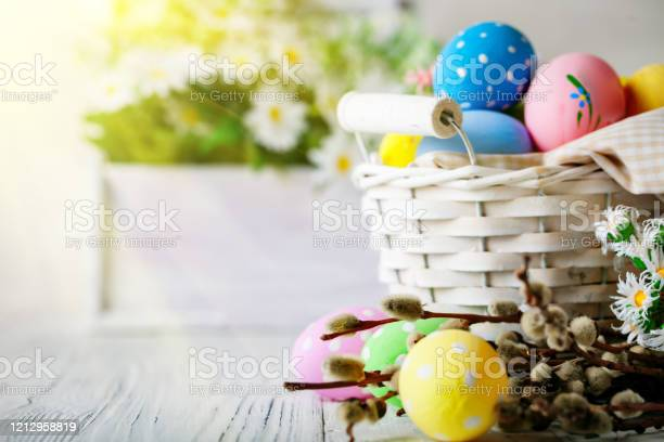 Happy easter congratulatory easter background easter eggs and flowers picture id1212958819?b=1&k=6&m=1212958819&s=612x612&h=sx13wjfimqlhgtiwauekhvas lynkyqbdgut1pixdck=