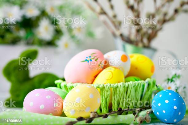 Happy easter congratulatory easter background easter eggs and flowers picture id1212958836?b=1&k=6&m=1212958836&s=612x612&h=huo3n7aievxjmszvi8l5ccwnnsexp65bdo8tjbti5y8=