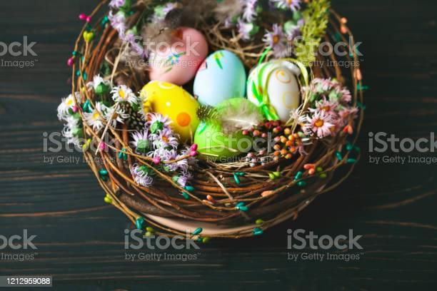 Happy easter congratulatory easter background easter eggs and flowers picture id1212959088?b=1&k=6&m=1212959088&s=612x612&h=w5ihnqnyvpejyxowvpz0pxxbioiwynr3jxva4jnjkoy=