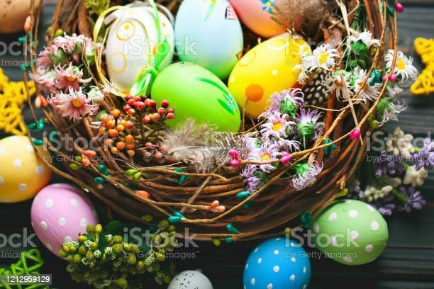 Happy easter congratulatory easter background easter eggs and flowers picture id1212959129?b=1&k=6&m=1212959129&s=612x612&h=ozmesullerexns761ubm886tad ma1af94r 4agjrto=