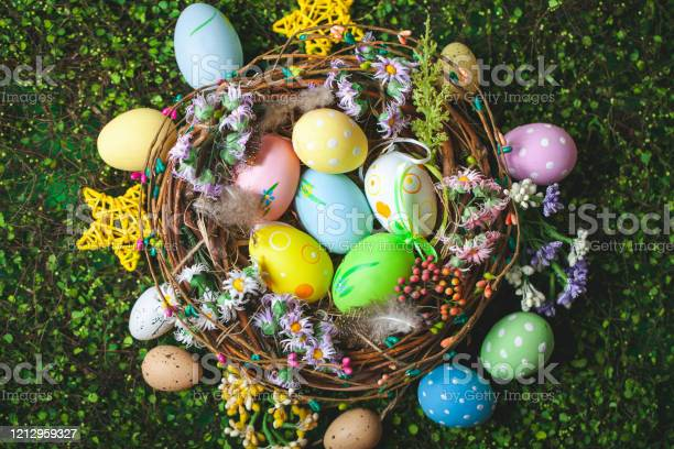 Happy easter congratulatory easter background easter eggs and flowers picture id1212959327?b=1&k=6&m=1212959327&s=612x612&h=j8xkhhkrh4peoz8n3u3wmktpvxwhekx9ntlfjl6kx3w=