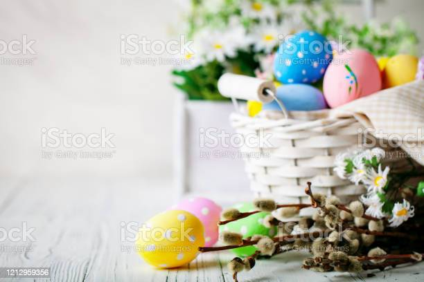 Happy easter congratulatory easter background easter eggs and flowers picture id1212959356?b=1&k=6&m=1212959356&s=612x612&h=p5whpp91h5mplvwnlfbgqxhcyi4i359ncd3jkg4jais=