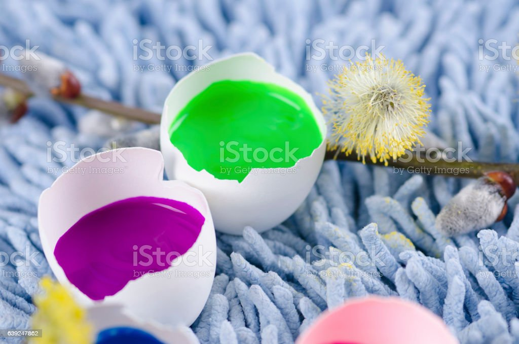 Happy Easter decoration with colorful egg shells stock photo