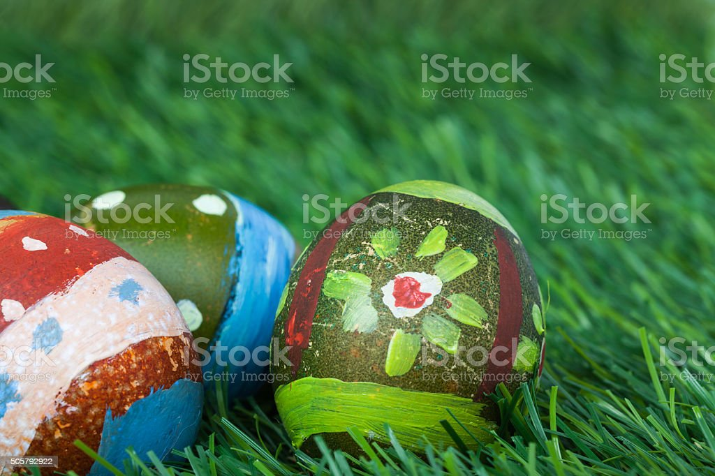 Happy easter eggs festival event on grass stock photo