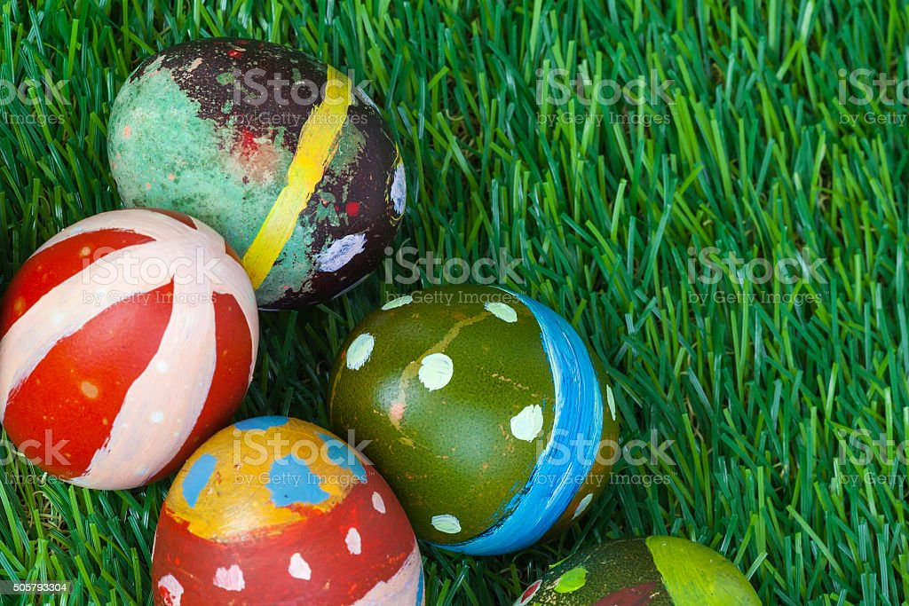 Happy easter eggs group on grass,can use as background stock photo