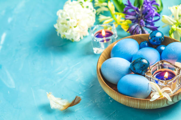 Happy Easter festive greeting card in blue style. stock photo