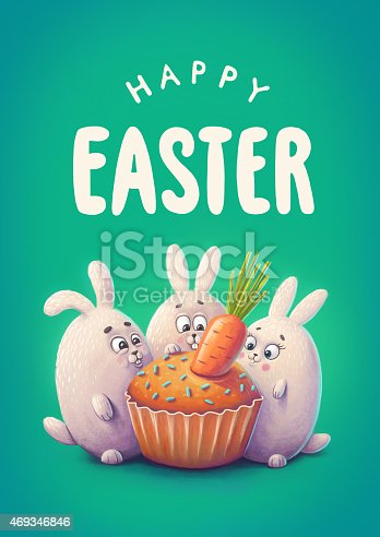 istock Happy easter greeting card. Illustration of bunnies and cake 469346846