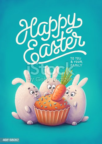 istock Happy easter greeting card. Illustration of rabbits and cake 468168052