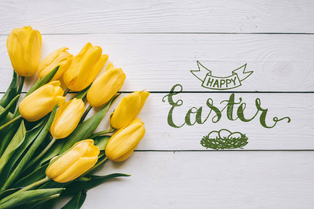 happy easter hand lettering calligraphy text. yellow tulips bunch on white wooden planks rustic barn rural table background. letters, inscription. beautiful horizontal flat lay postcard. - easter imagens e fotografias de stock