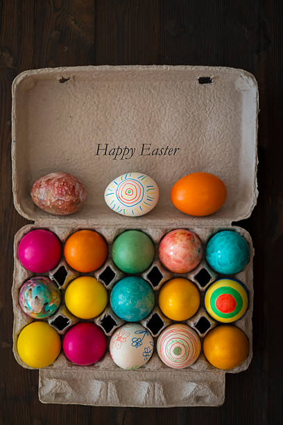 frohe ostern - essensbox stock-fotos und bilder