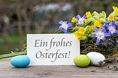 German-language greeting card for Easter with the text: Happy Easter