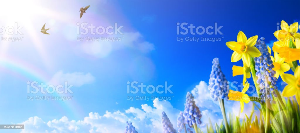 Happy Easter; Spring landscape background with fresh spring flowers stock photo