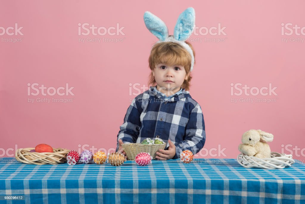 Happy easter! Surprise child baby. Gift for children for Easter. Cute...