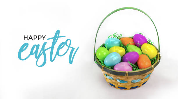 Happy Easter Text with Easter Egg Basket and Colorful Eggs stock photo