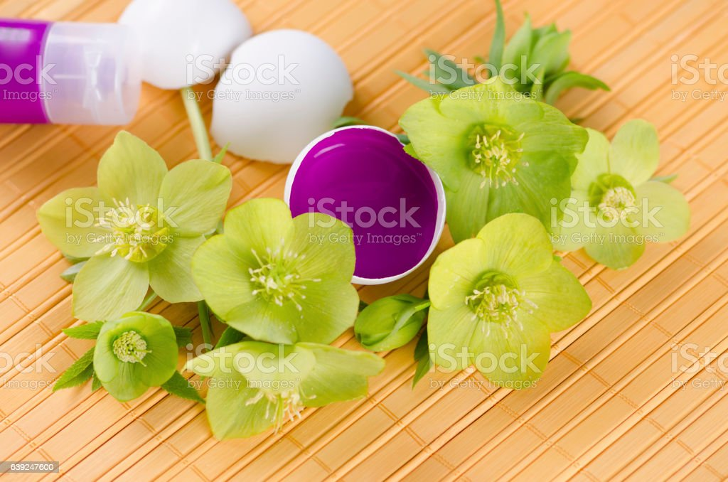 Happy Easter with egg shells and magenta paint on a stock photo