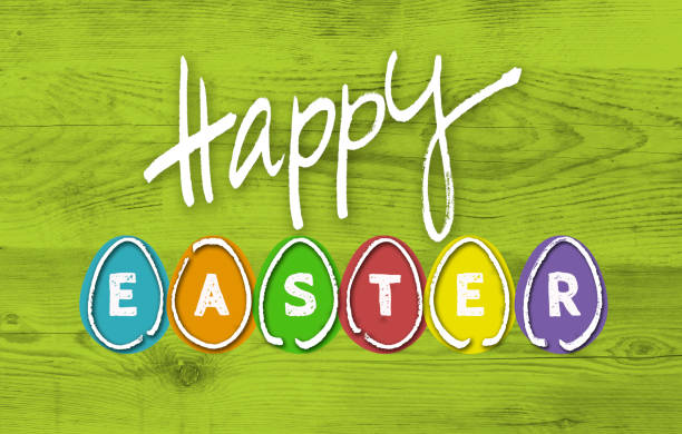 happy eastern with colorful eggs on green wood - easter stock pictures, royalty-free photos & images