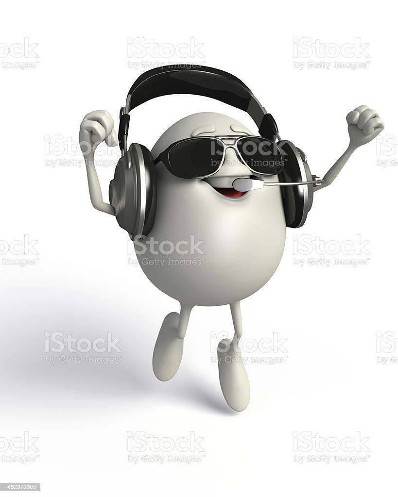 Happy Egg with headphone royalty-free stock photo