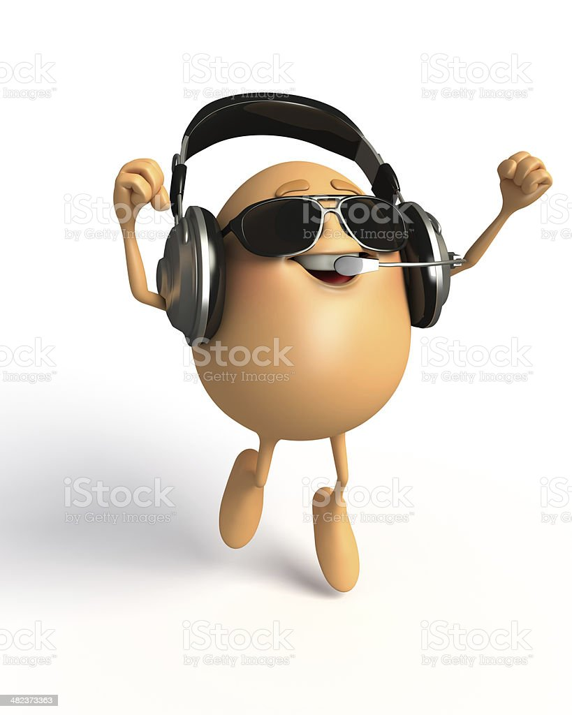 Happy Egg with headphone royalty-free stock photo