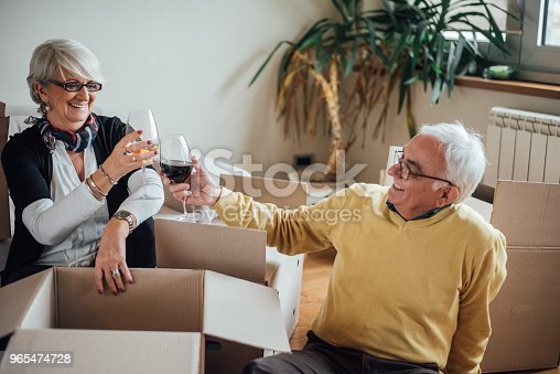 Mature couple celebrating new apartment over a wine