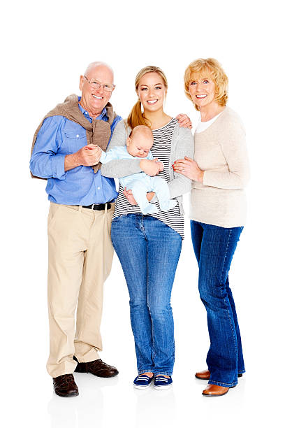Edad feliz pareja con su hija y nieto - foto de stock