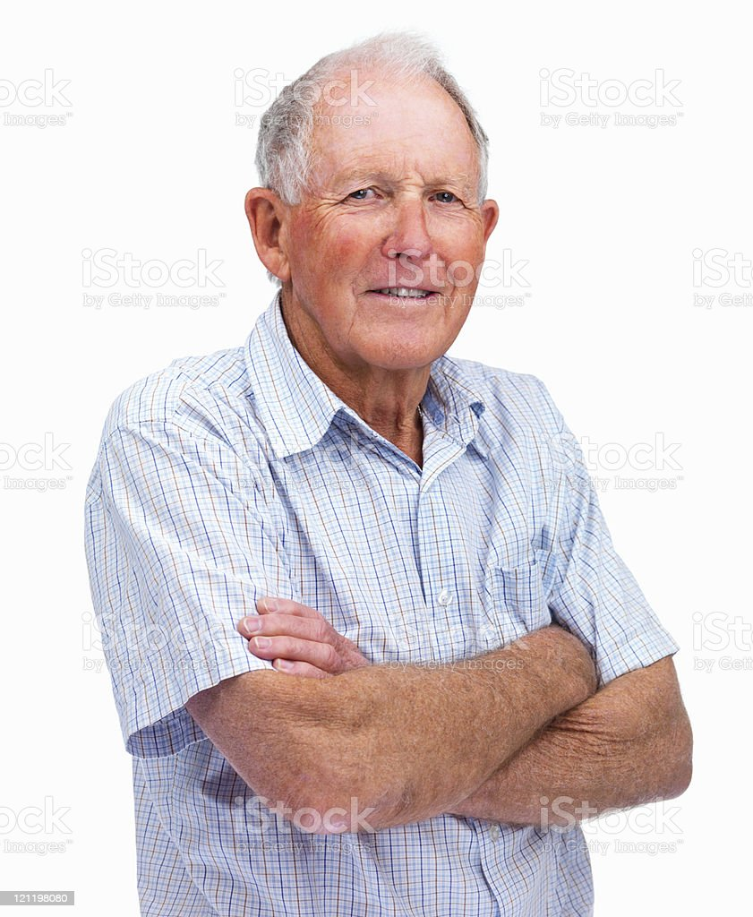 Happy elderly man with hands folded isolated against white royalty-free stock photo