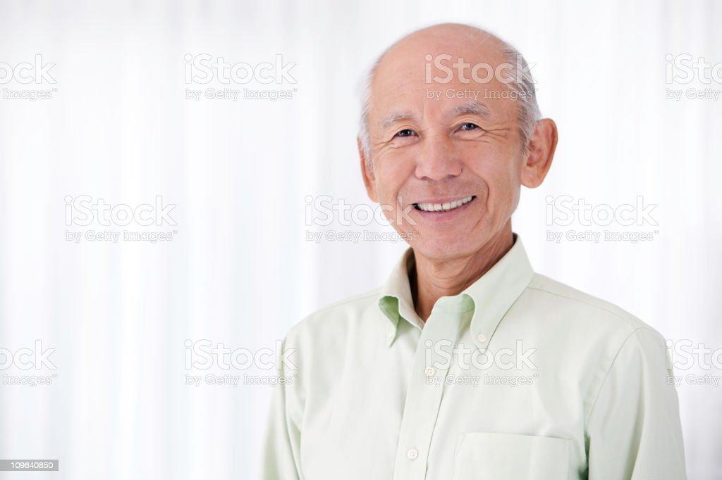 Happy Elderly Senior Japanese Man royalty-free stock photo