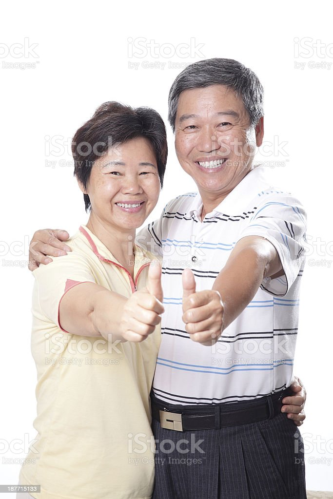 Happy elderly seniors couple stock photo