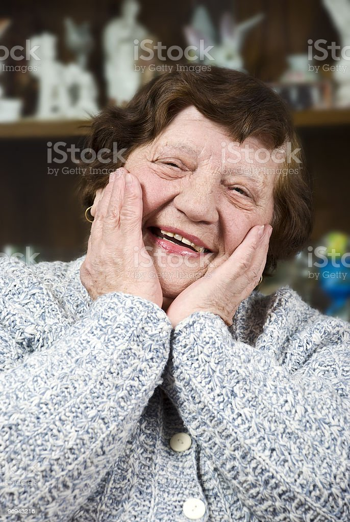 Happy elderly woman face royalty-free stock photo