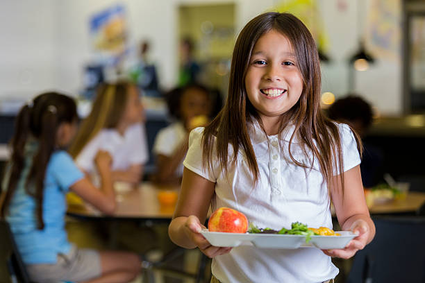 Happy elementary school girl with healthy food in cafeteria picture id639407344?b=1&k=6&m=639407344&s=612x612&w=0&h=37rrq7kqmks9e3sk9flrayq4jiakxbjwu eiuyqeah4=