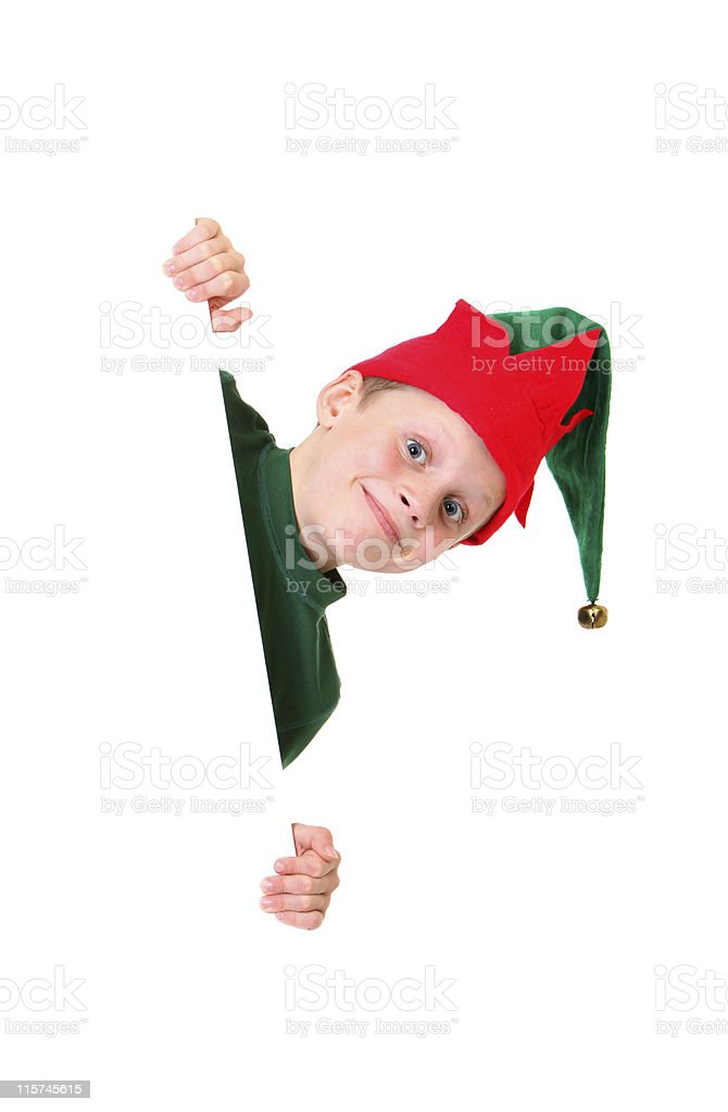 happy elf peeking stock photo
