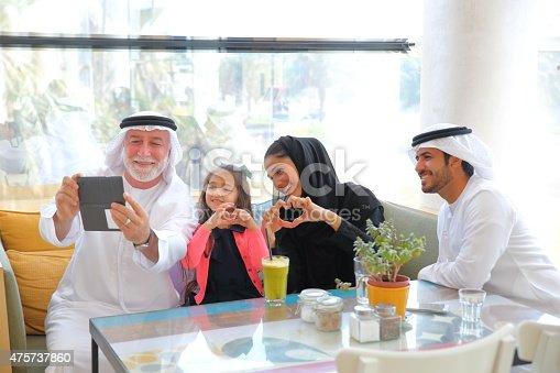istock Happy Emirati family portrait 475737860