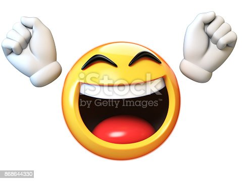 istock Happy emoji isolated on white background, emoticon with raised hands 3d rendering 868644330