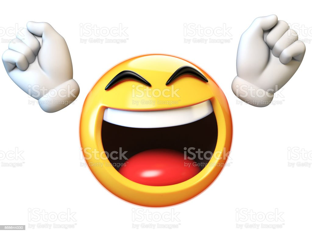 Happy emoji isolated on white background, emoticon with raised hands 3d rendering stock photo