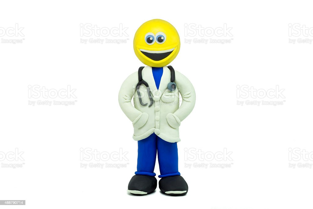 Emoticono Hecho Feliz Médico Como Sonriendo Vestido En Plasticine Un 8mnv0wN