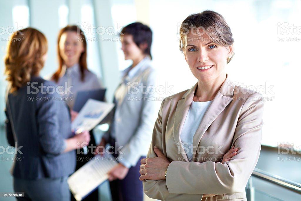 Happy employer stock photo
